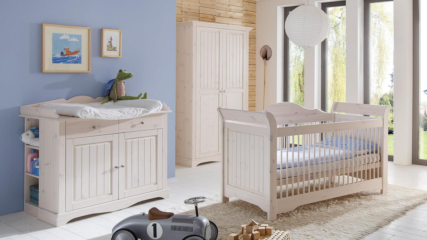 babyzimmer lotta kiefer masssiv wei white wash 3 teilig. Black Bedroom Furniture Sets. Home Design Ideas