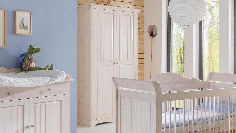 Babyzimmer Lotta Kiefer Masssiv Weiss White Wash 3 Teilig