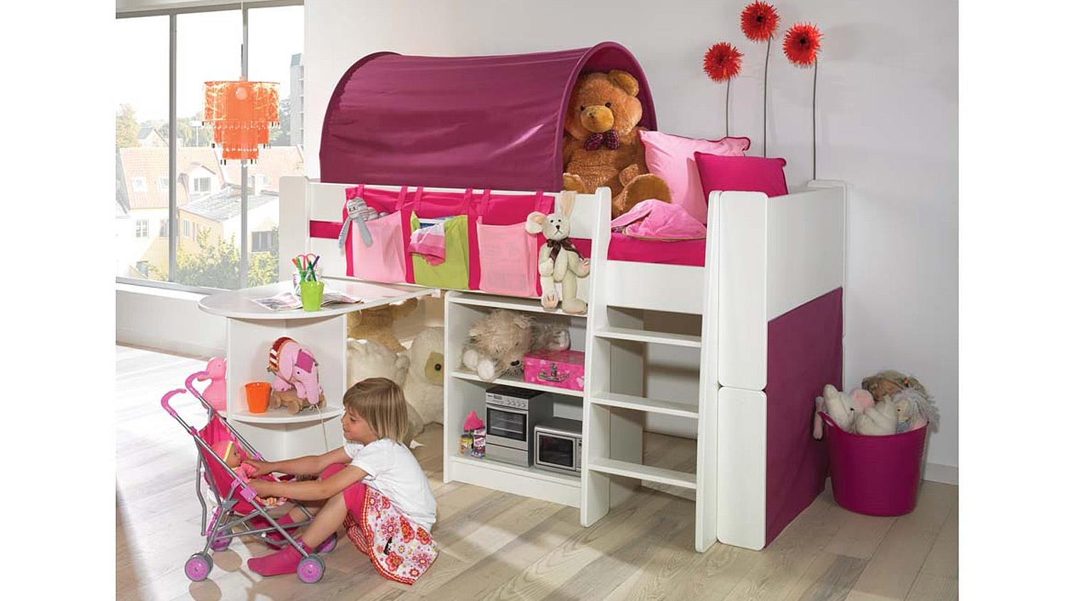 hochbett steens for kids kombi wei mdf lila pink 90x200 cm. Black Bedroom Furniture Sets. Home Design Ideas