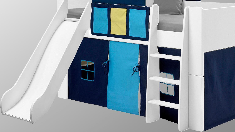 Steens Etagenbett Aufbauanleitung : Hochbett steens for kids weiß mdf vorhänge blau mit rutsche