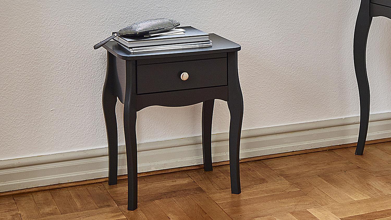 nachttisch baroque mdf in schwarz braun 1 schublade. Black Bedroom Furniture Sets. Home Design Ideas