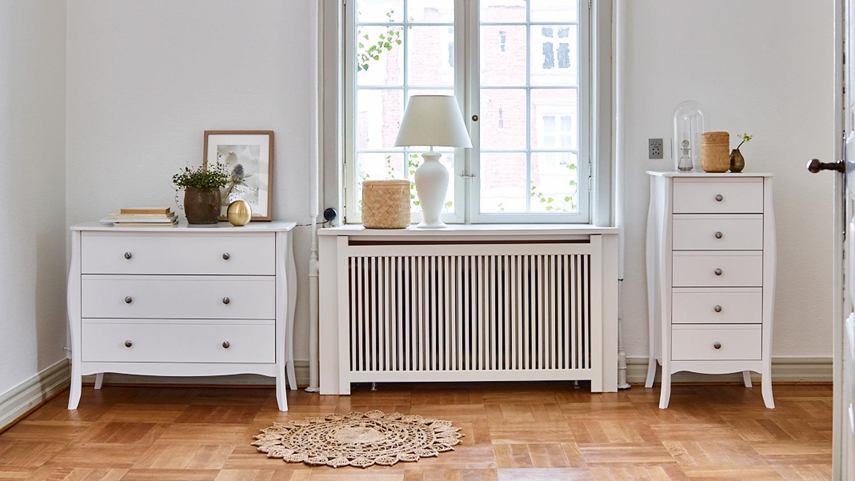 kommode baroque mdf in rein wei 5 schubladen. Black Bedroom Furniture Sets. Home Design Ideas