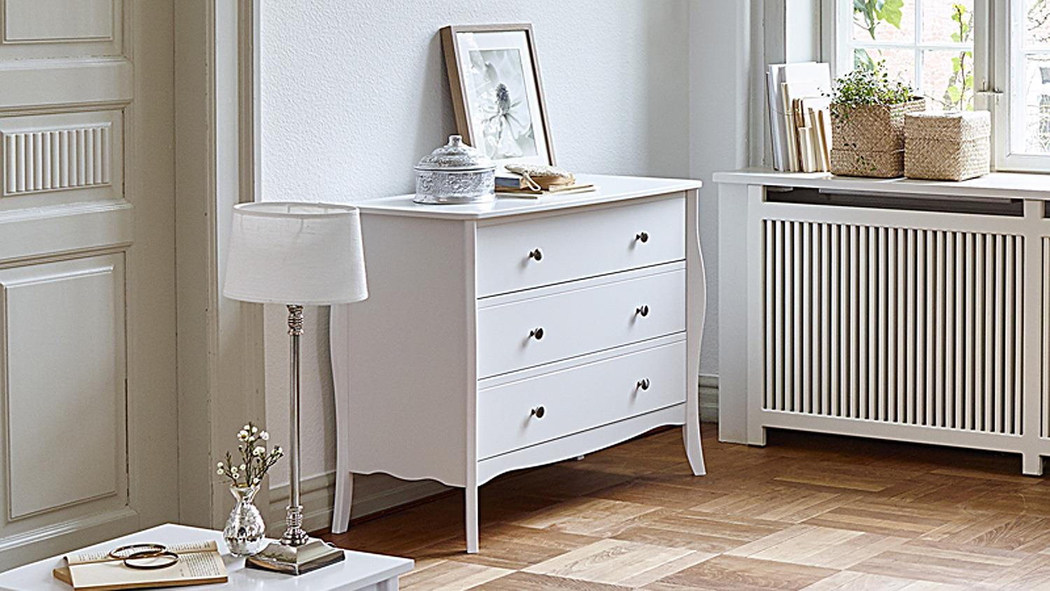 kommode baroque mdf in rein wei 3 schubladen. Black Bedroom Furniture Sets. Home Design Ideas