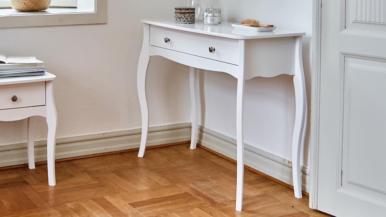 frisiertisch baroque mdf in rein wei 1 schublade. Black Bedroom Furniture Sets. Home Design Ideas