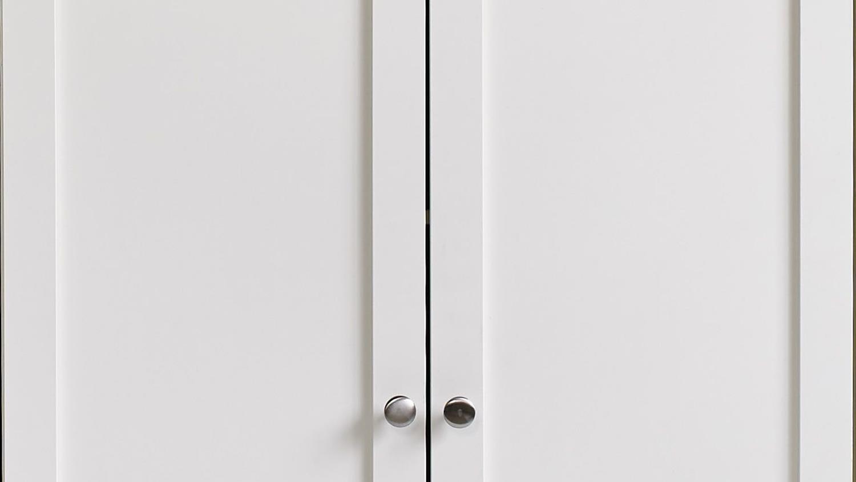 ANETTE Schrank in weiß niedrig 80cm breit mit Holztüren