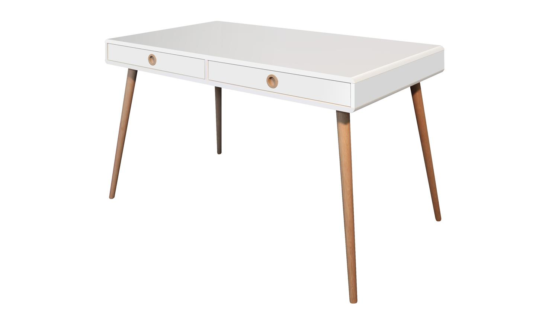 Schreibtisch soft line b rotisch in wei und eiche massiv for Schreibtisch eiche massiv