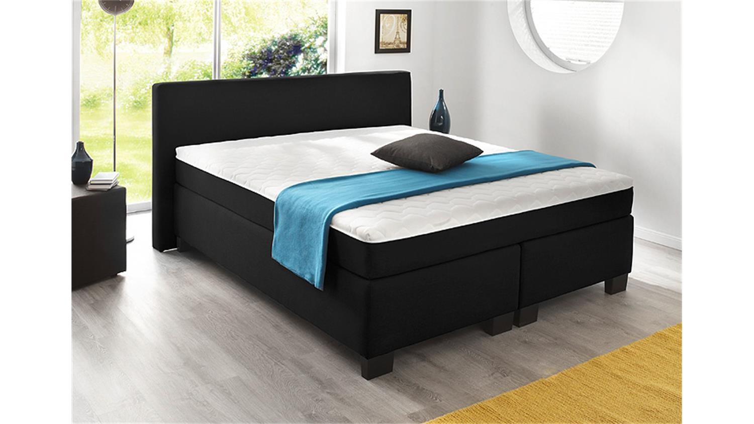 boxspringbett bx 290 schwarz stoff 140x200. Black Bedroom Furniture Sets. Home Design Ideas