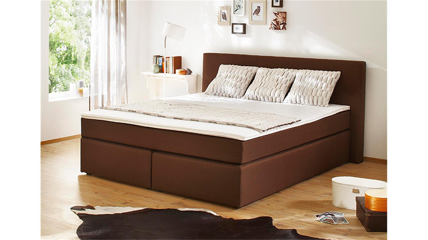 boxspringbett bx420 bett schlafzimmerbett in braun 140x200. Black Bedroom Furniture Sets. Home Design Ideas