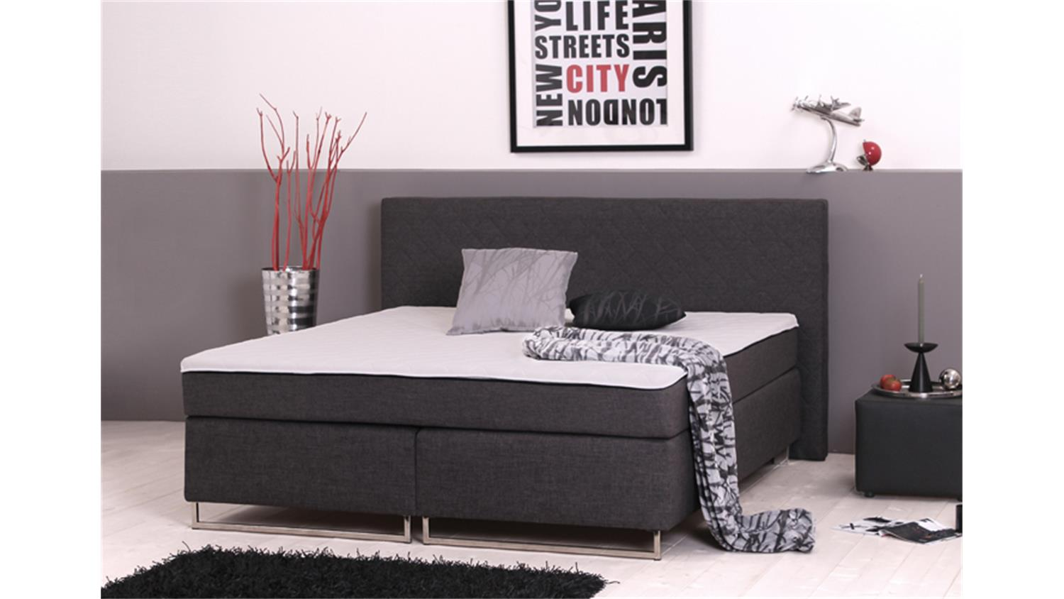 boxspringbett bx760 liegefl che 180x200cm taschenfederkern. Black Bedroom Furniture Sets. Home Design Ideas