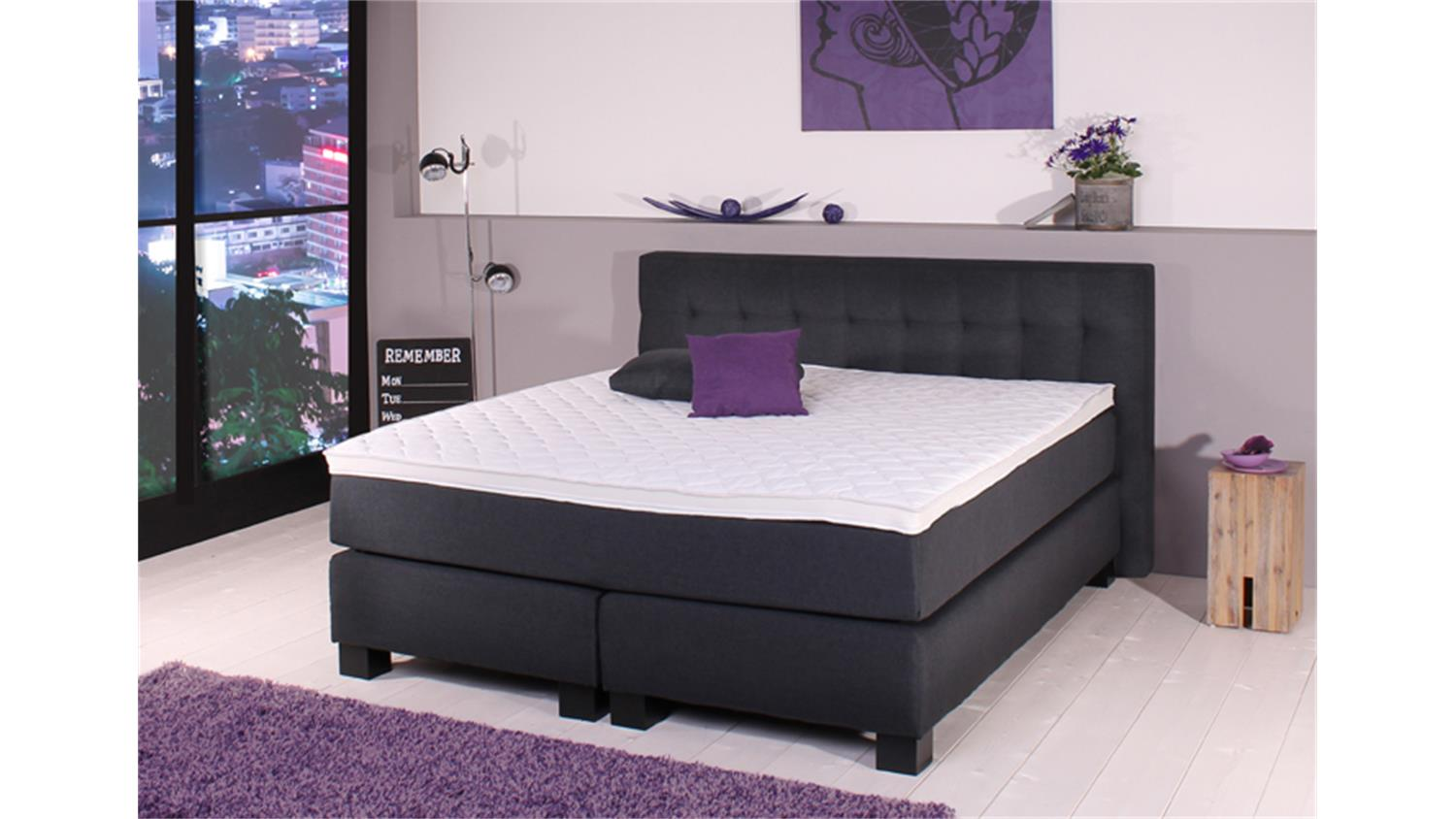 boxspringbett bx650 anthrazit 7 zonen tfk matratze 180x200cm. Black Bedroom Furniture Sets. Home Design Ideas