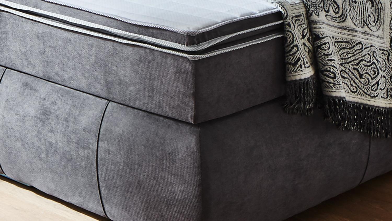 boxspringbett bx1150 tacoma in stoff grau 180x200 cm. Black Bedroom Furniture Sets. Home Design Ideas