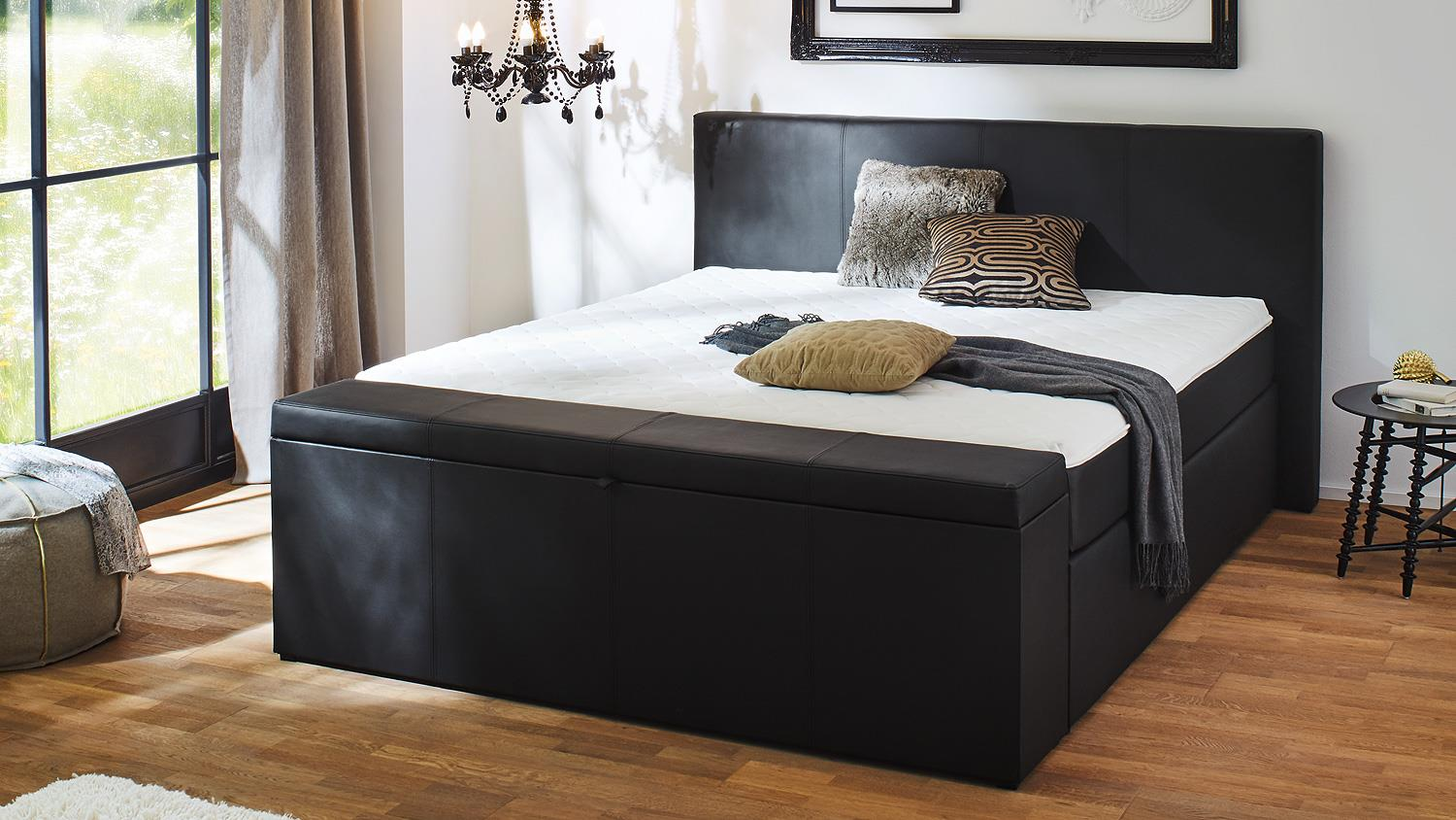 boxspringbett bx1160 chicago in stoff schwarz 180x200 cm. Black Bedroom Furniture Sets. Home Design Ideas