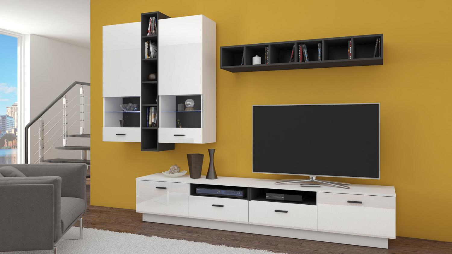 wohnwand flexi anbauwand wohnzimmer in wei hochglanz und schwarz matt. Black Bedroom Furniture Sets. Home Design Ideas