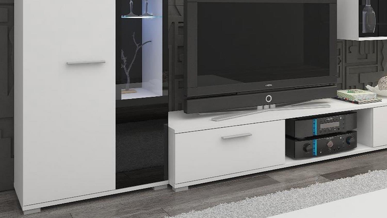 Wohnwand SALSAS Anbauwand Wohnzimmer in weiß matt und schwarz 235 cm