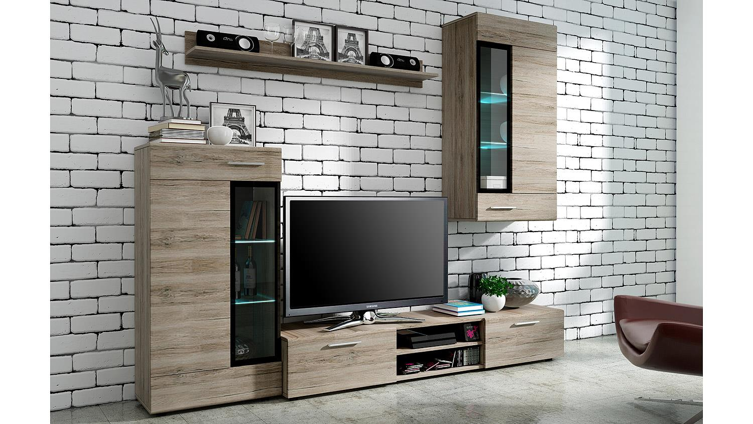 wohnwand tangos anbauwand wohnkombi wohnzimmer in eiche san remo 235. Black Bedroom Furniture Sets. Home Design Ideas