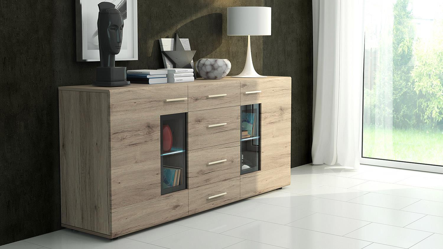 sideboard tangos anrichte kommode f r wohnzimmer in eiche san remo 169. Black Bedroom Furniture Sets. Home Design Ideas