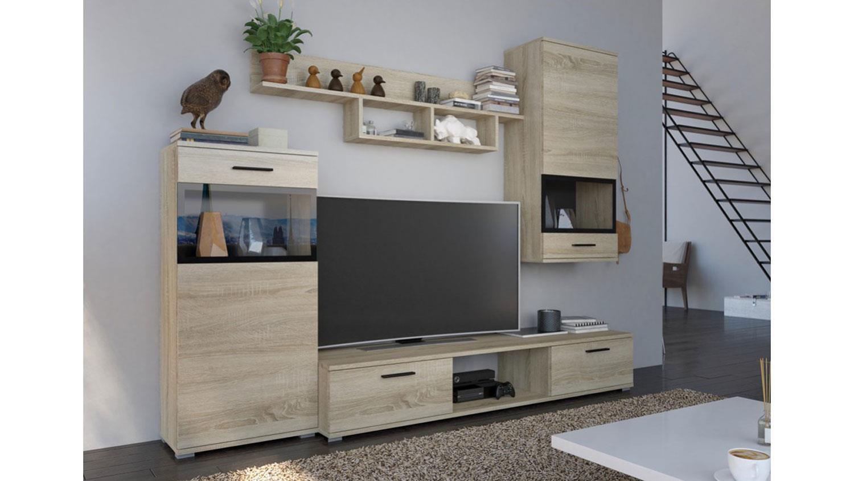 anbauwand blues wohnwand in sonoma eiche 230 cm. Black Bedroom Furniture Sets. Home Design Ideas