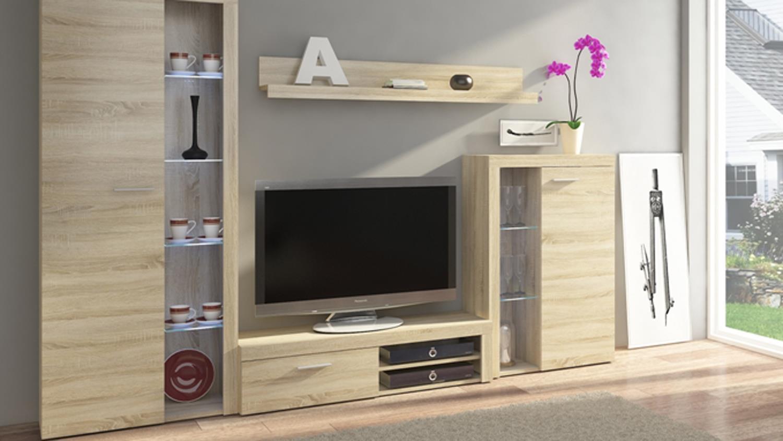 wohnwand rumba anbauwand wohnzimmer wohnkombi in sonoma eiche 270 cm. Black Bedroom Furniture Sets. Home Design Ideas