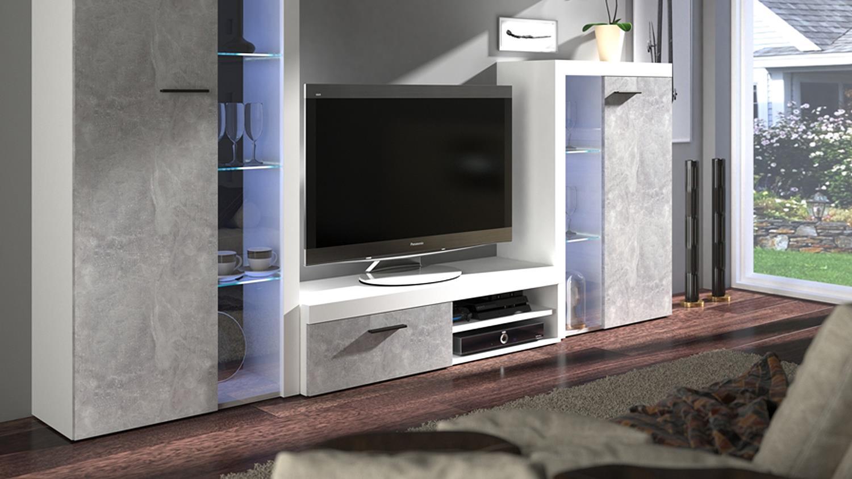 wohnwand rumba anbauwand wohnzimmer in wei und beton hell. Black Bedroom Furniture Sets. Home Design Ideas