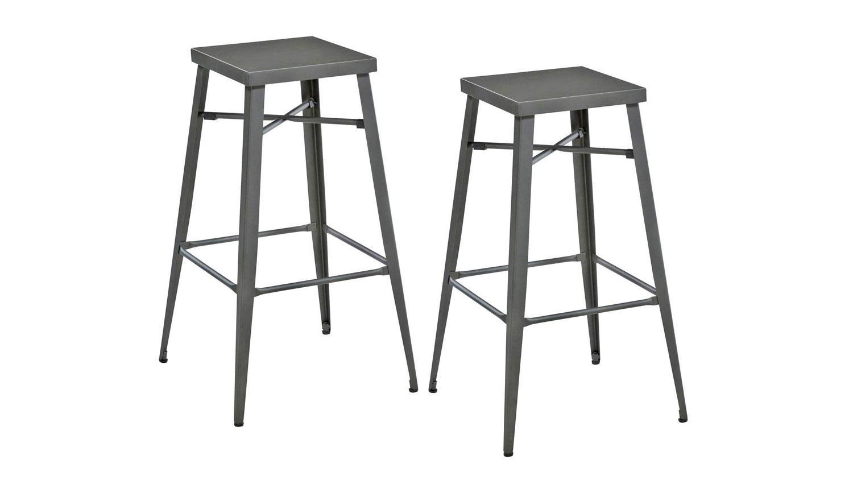 Barhocker Industrial Design Grau Matt Metall 2er Set