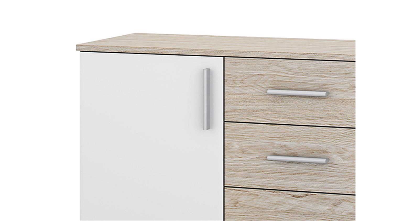 kommode ulm eiche struktur wei 2 t ren 4 schubk sten. Black Bedroom Furniture Sets. Home Design Ideas
