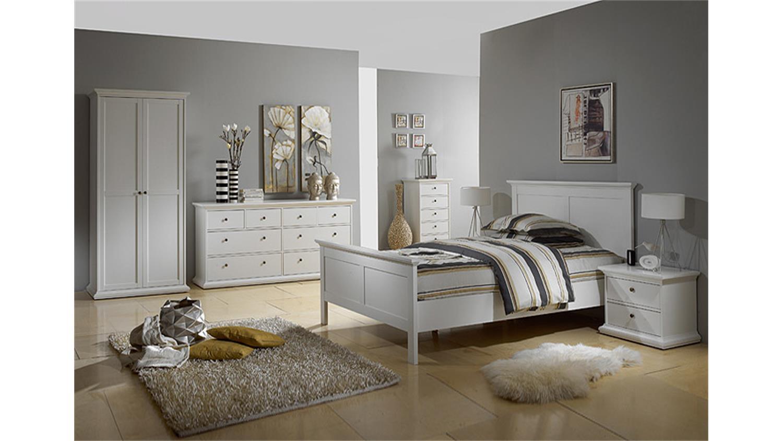 schlafzimmer paris kleiderschrank bett nakos 3 tlg in wei. Black Bedroom Furniture Sets. Home Design Ideas