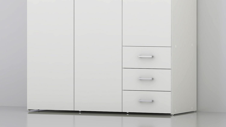 kleiderschrank suros wei er schrank mit schubk sten 3 t rig. Black Bedroom Furniture Sets. Home Design Ideas
