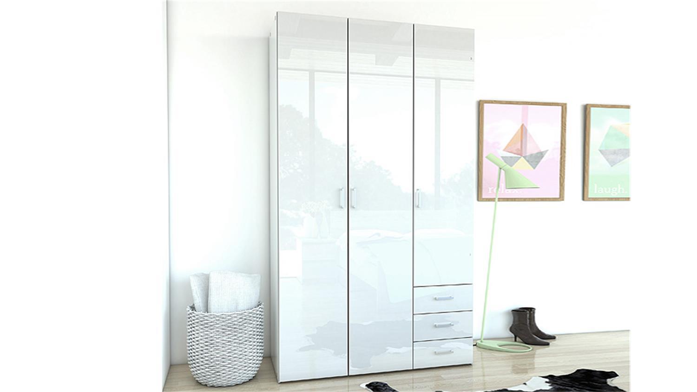 kleiderschrank space schlafzimmer wei hochglanz 116 cm. Black Bedroom Furniture Sets. Home Design Ideas