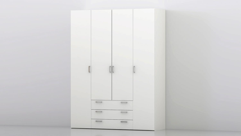 kleiderschrank suros wei 4 t ren 3 schubk sten h he 200. Black Bedroom Furniture Sets. Home Design Ideas