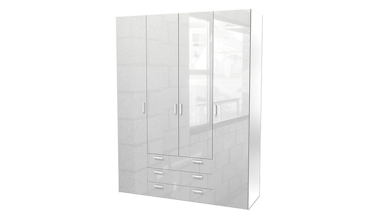 kleiderschrank space schlafzimmer wei hochglanz 154 cm. Black Bedroom Furniture Sets. Home Design Ideas