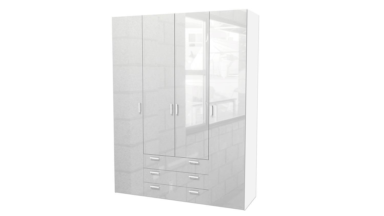 Kleiderschrank weiß hochglanz  Suros 4-türiger Schrank in Weiß Hochglanz