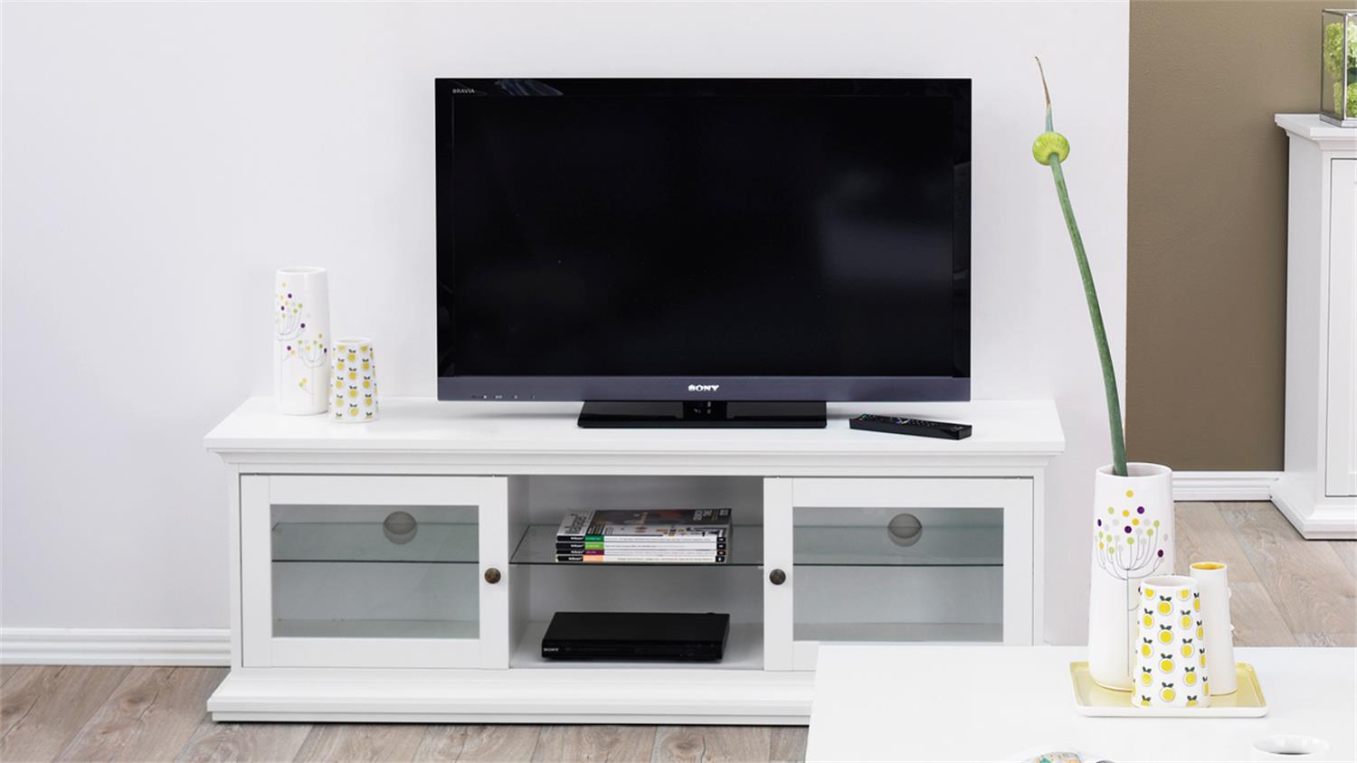 tv board paris landhaus lowboard in wei dekor. Black Bedroom Furniture Sets. Home Design Ideas