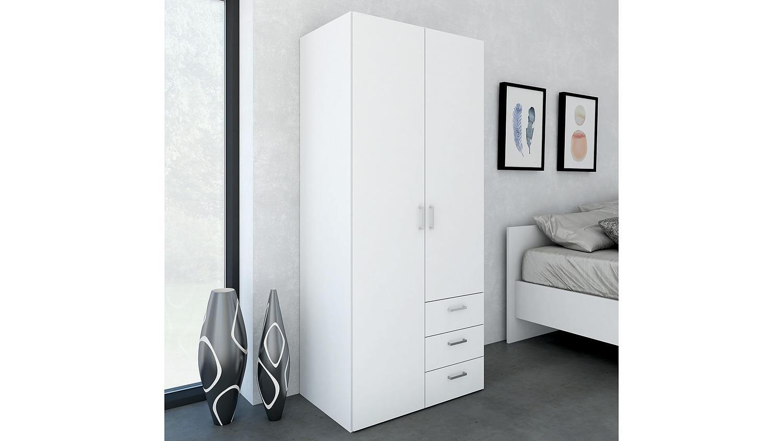 kleiderschrank suros wei 2 t ren 3 schubk sten h he 175. Black Bedroom Furniture Sets. Home Design Ideas