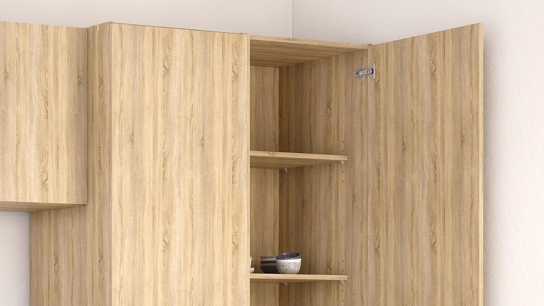 k che cassy k chenzeile eiche struktur mit sp le 8 teilig. Black Bedroom Furniture Sets. Home Design Ideas