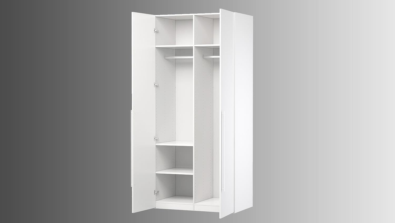 Kleiderschrank weiß hochglanz 2 türig  MANA in weiß Hochglanz mit 2 Türen 99 cm
