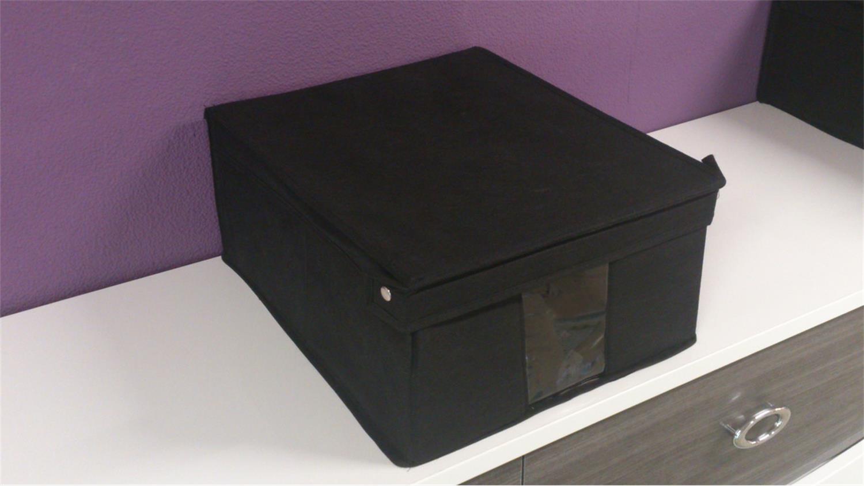 ordnungsbox aufbewahrungsbox m in schwarz mit deckel. Black Bedroom Furniture Sets. Home Design Ideas