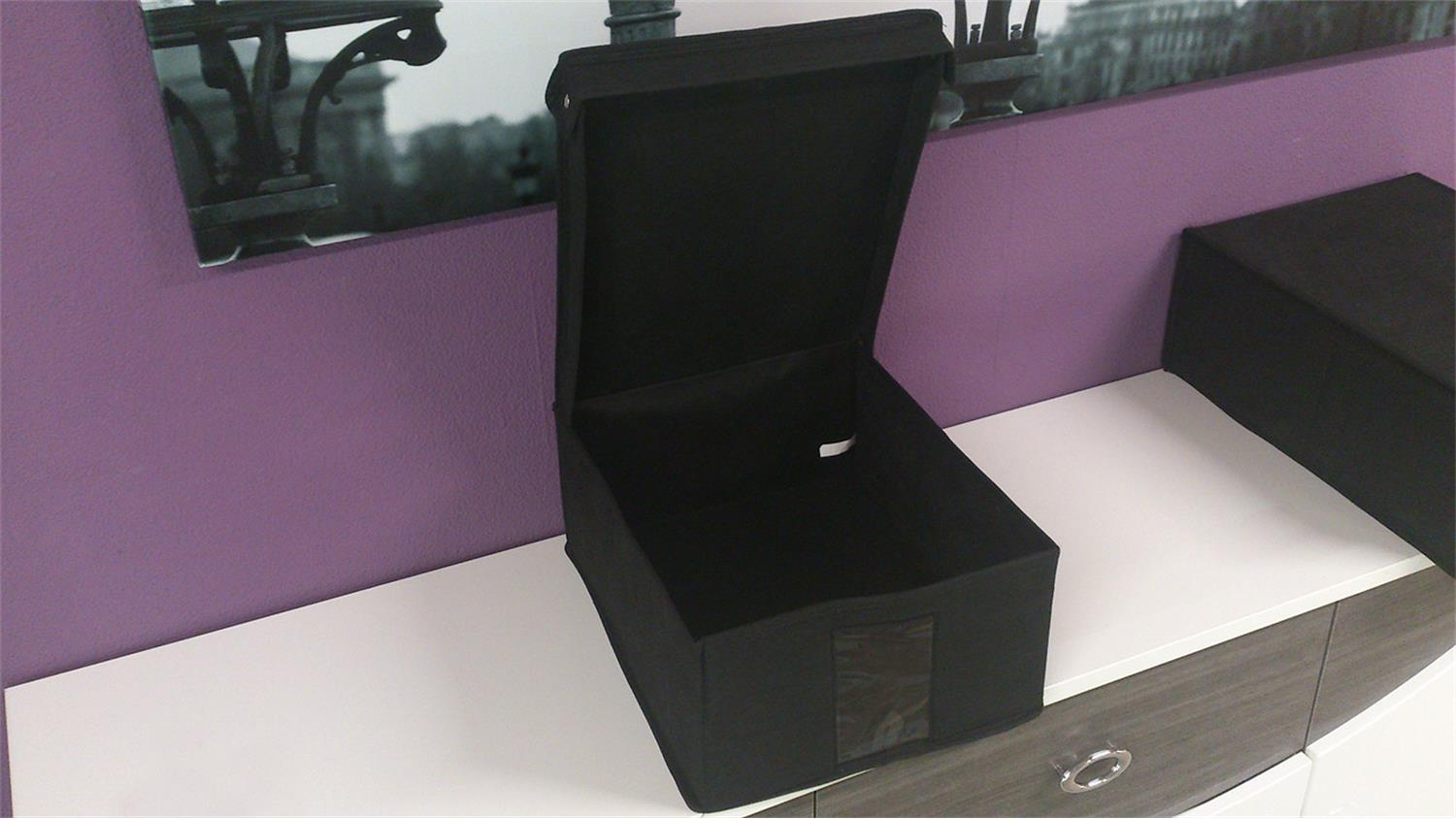 ordnungsbox aufbewahrungsbox m in schwarz mit deckel. Black Bedroom Furniture Sets. Home Design Ideas