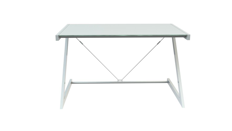 Schreibtisch 150 z line tv rack in wei mit sicherheitsglas for Schreibtisch 150