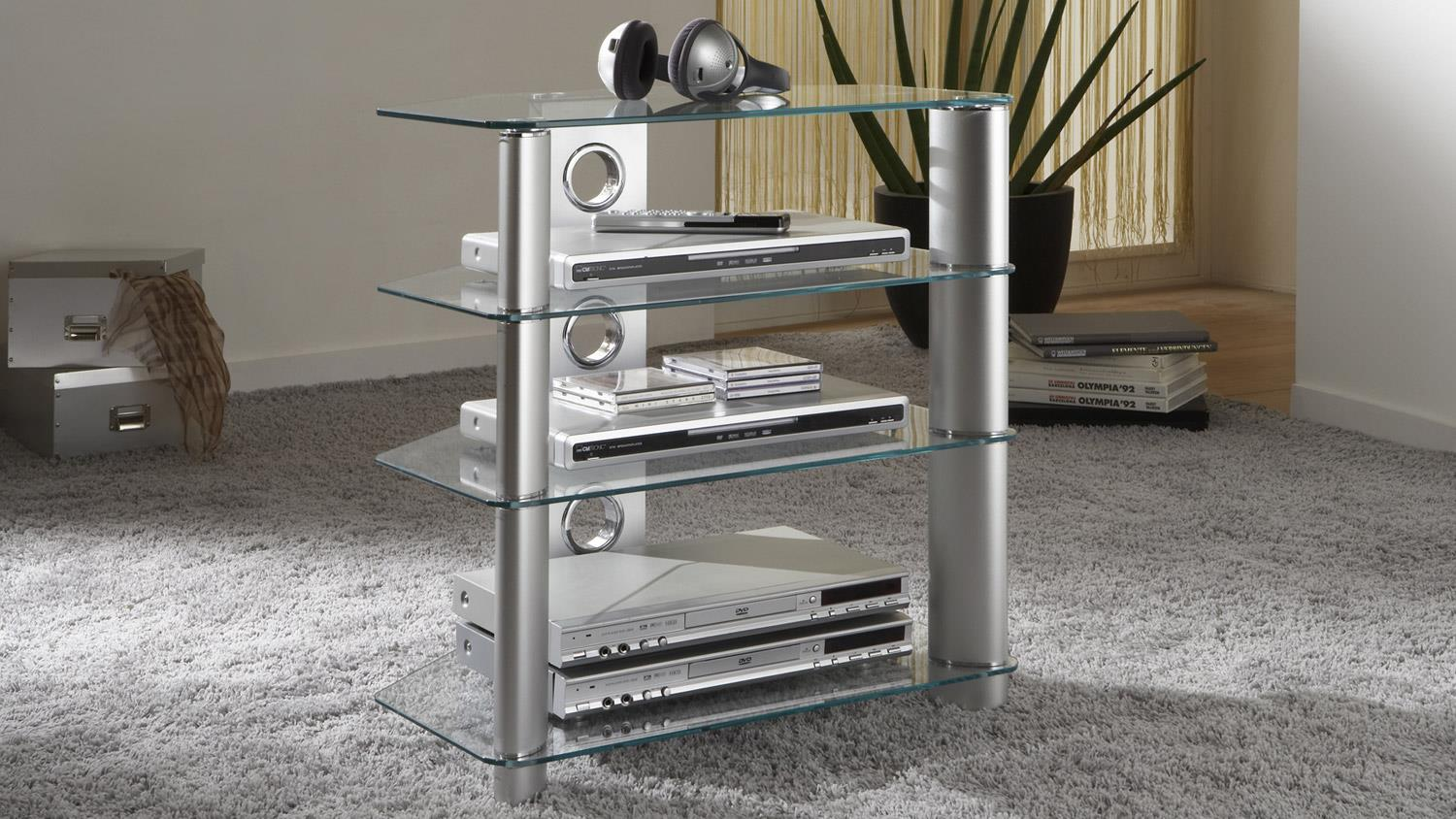 tv rack harry hifi turm aus glas in alu silber media board 65 cm. Black Bedroom Furniture Sets. Home Design Ideas