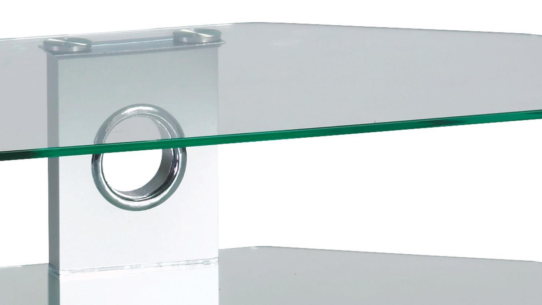 Tv Rack Harry Hifi Turm Aus Glas In Alu Silber Media Board 65 Cm