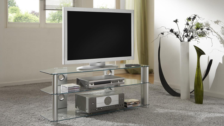 tv rack dick silberner media tisch aus glas f r hifi ger te 120 cm. Black Bedroom Furniture Sets. Home Design Ideas