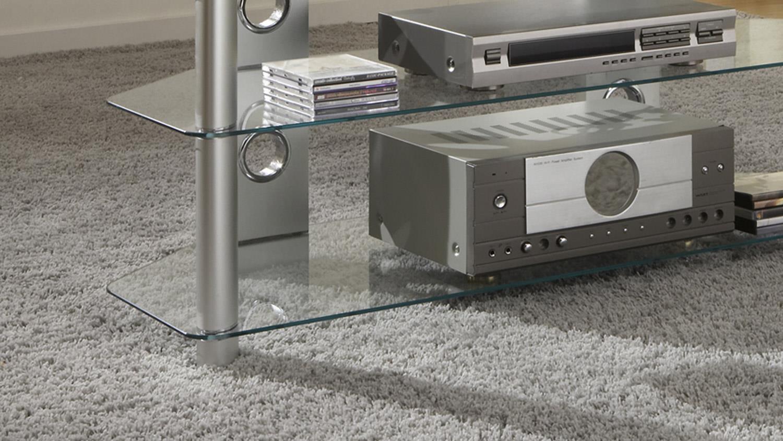 Tv Rack Silberner Media Tisch Aus Glas Für Hifi Geräte 120 Cm