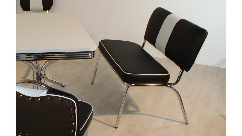 Büromöbel weiß chrom  Sitzbank ELVIS Bank schwarz weiß Chrom American Diner 50er Jahre