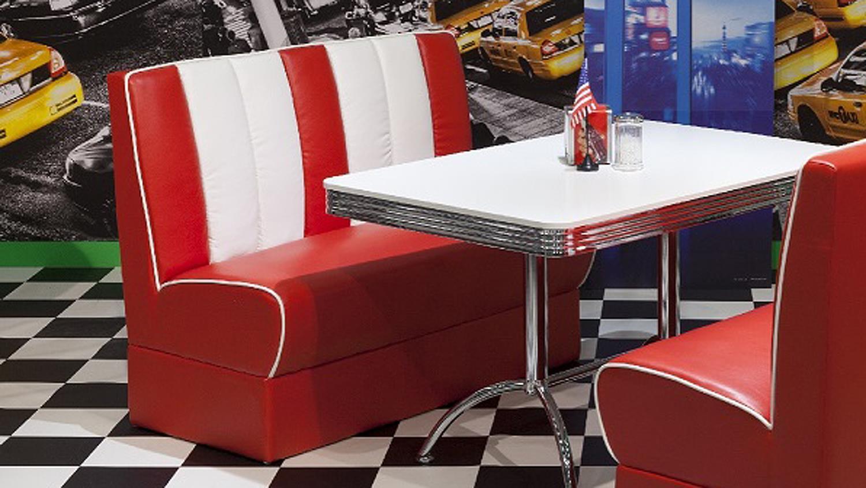 Polsterbank ELVIS Bank in rot weiß 50er Jahre American Diner