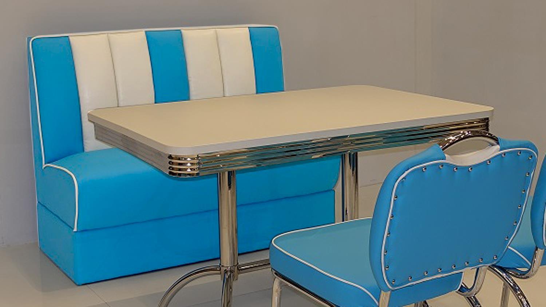 polsterbank elvis bank in blau wei american diner 50er jahre. Black Bedroom Furniture Sets. Home Design Ideas