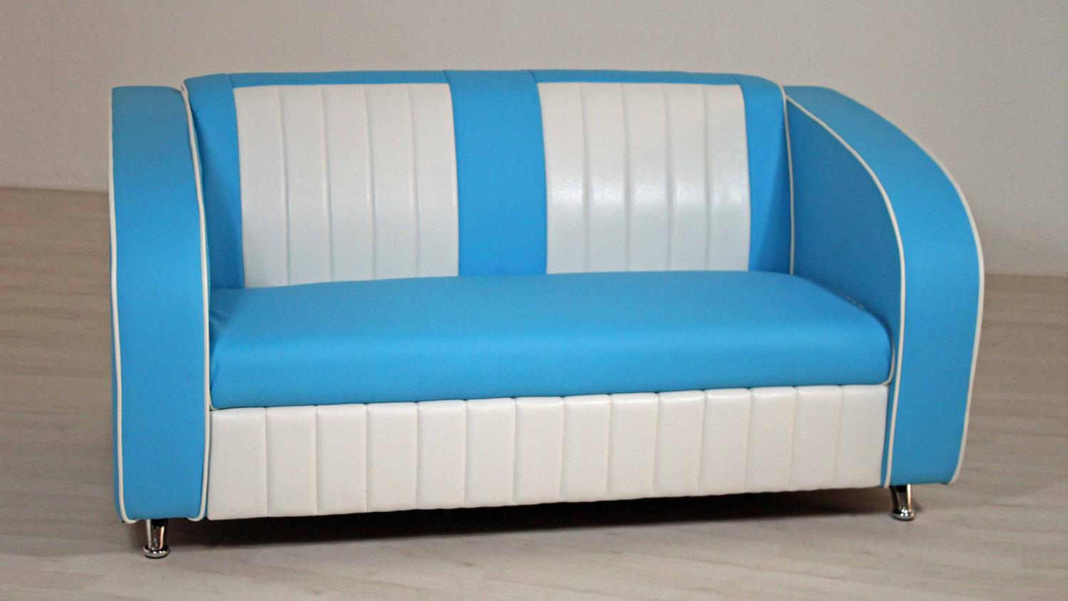 sofabank elvis polstersofa in blau wei american diner 50er jahre. Black Bedroom Furniture Sets. Home Design Ideas