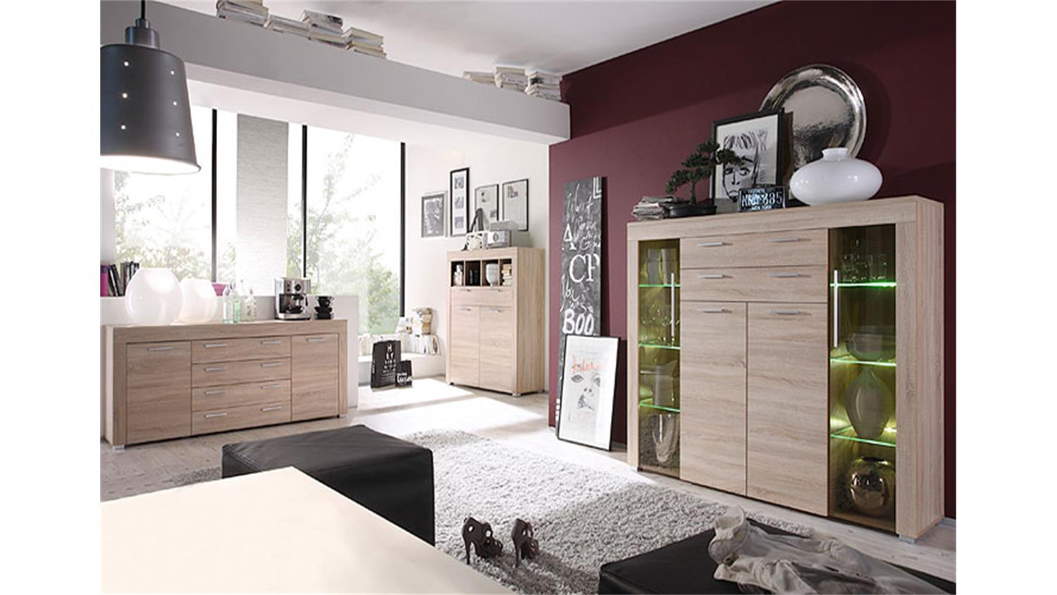kommode boom schrank sideboard in sonoma eiche s gerau hell. Black Bedroom Furniture Sets. Home Design Ideas