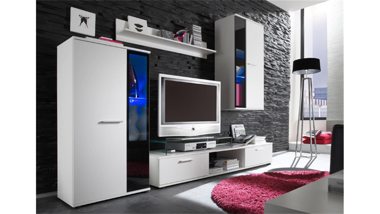 wohnwand salsa 1 in wei vitrinen mit beleuchtung. Black Bedroom Furniture Sets. Home Design Ideas