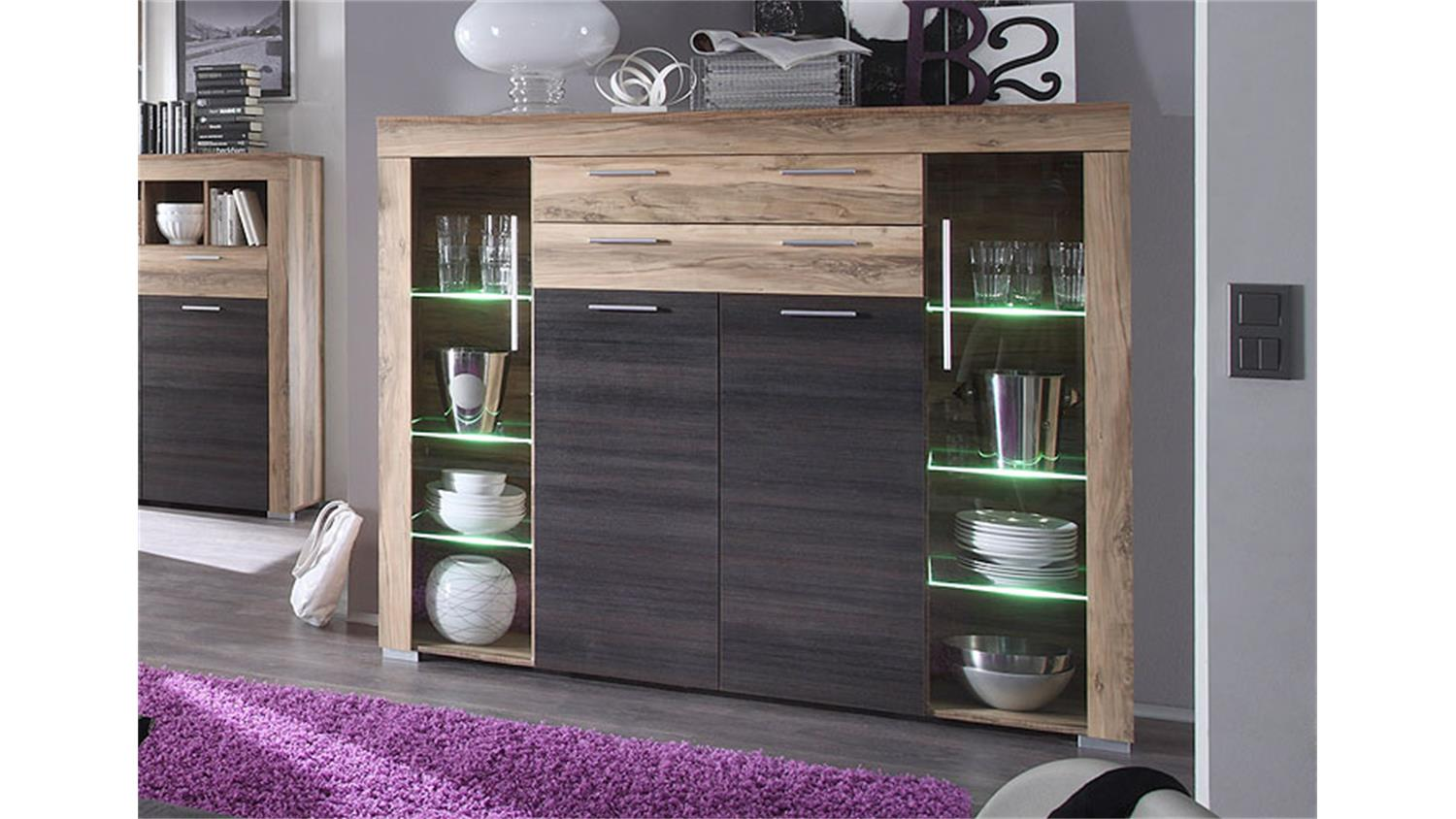 highboard boom nussbaum braun touchwood inkl beleuchtung. Black Bedroom Furniture Sets. Home Design Ideas