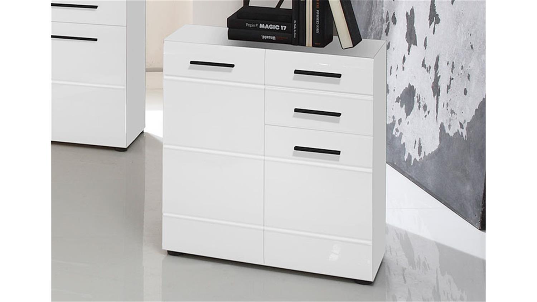 kommode skin 4 schrank 2 t rig 2 schubk sten wei hochglanz. Black Bedroom Furniture Sets. Home Design Ideas